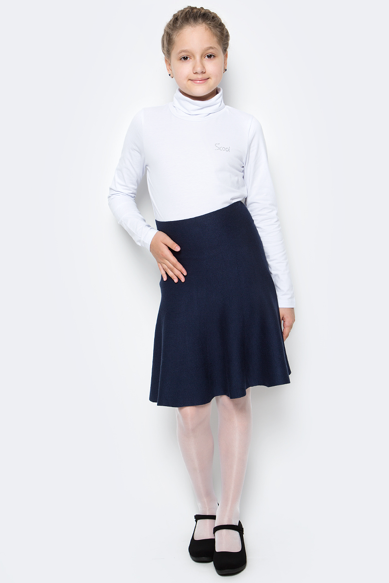 Юбка для девочки Scool, цвет: темно-синий. 374439. Размер 140, 10 лет374439Юбка для девочек Scool изготовлена из мягкой трикотажной ткани. Бесшовная модель с мягкими струящимися складками имеет завышенную линию талии.
