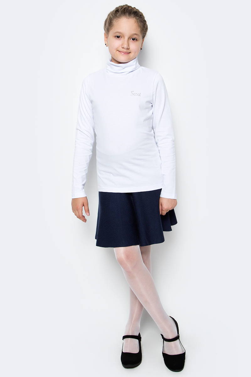 Водолазка для девочки Scool, цвет: белый. 374492. Размер 158, 13 лет374492Водолазка для девочки Scool изготовлена из эластичного хлопка. Модель с воротником-гольф и длинными рукавами сможет быть одной из базовых вещей детского повседневного гардероба. В качестве декора использована небольшая аппликация из стразов.