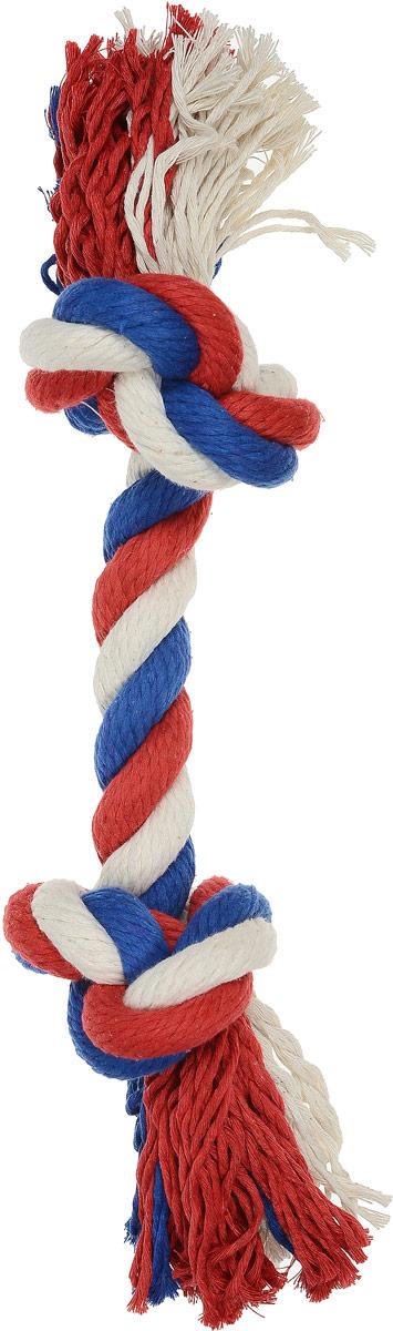 Игрушка для собак Зооник Канат, 2 узла, длина 40 см игрушка для собак titbit канат с рулетом из кожи длина 35 см