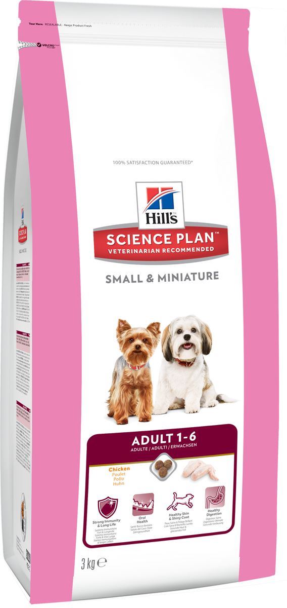 Корм сухой Hills для взрослых собак мелких и миниатюрных пород, с курицей и индейкой, 3 кг2822Корм сухой Hills предназначен для собак мелких и миниатюрных пород в возрасте от 1 года до 6 лет. Корм разработан для поддержания здоровья полости рта, здоровой кожи и здорового пищеварения собак мелких и миниатюрных пород. Содержит натуральные ингредиенты и высокие уровни антиоксидантов с клинически подтвержденным эффектом, витамины и минералы. Ключевые преимущества: Антиоксиданты с клинически подтвержденным эффектом для поддержания иммунитета и долголетия. Хрустящие гранулы с антиоксидантами для поддержания здоровья полости рта. Премиальное питание для здоровой кожи и мягкой, сияющей шерсти. Точно сбалансированное, легкоусваиваемое питание для собак мелких и миниатюрных пород. Состав: высушенное мясо курицы и индейки (курицы 34%, индейки 4%, общего содержания мяса домашней птицы 51%), кукуруза, пшеница, размолотый рис, животный жир, гидролизат белка, растительное масло, минералы, льняное семя, выжимки томата, порошок шпината, мякоть цитрусовых, выжимки винограда, витамины, микроэлементы, таурин и бета-каротин. Содержит натуральные консерванты - смесь токоферолов и лимонную кислоту. Среднее содержание нутриентов в рационе: протеины 23,2%, жиры 15%, углеводы 47,8%, клетчатка (общая) 1,5%, кальций 0,84%, фосфор 0,71%, натрий 0,28%, калий 0,68%, магний 0,08%, цинк 180 иг/кг, Омега-3 жирные кислоты 0,53%, Омега-6 жирные кислоты 3,42%, витамин A 5000 МЕ/кг, витамин D 656 МЕ/кг, витамин E 690 мг/кг, бета-каротин 1,5 мг/кг. Энергетическая ценность: 375 Ккал/100 г. Товар сертифицирован.