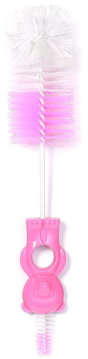 BabyOno Ершик для бутылочек и сосок Мишка цвет розовый