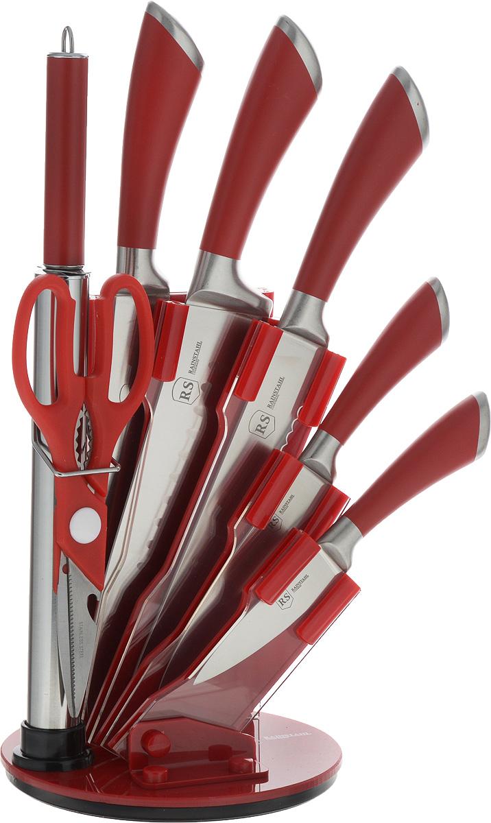 """Набор """"Rainstahl"""" состоит из 4 ножей: поварского, универсального, хлебного и овощного, а также  точилки, ножниц, кухонного топорика и подставки.  Лезвия изделий выполнены из высококачественной нержавеющей  стали. Эргономичные ручки ножей, толки и топорика изготовлены из стали со специальным  покрытием, которое обеспечит максимально эффективную работу и предотвратит скольжение.  Ручка ножниц - из пластика. Акриловая подставка с  вращающимся основанием обеспечивает  компактное и удобное хранение изделий. Набор отвечает высоким стандартам качества и  гигиены. Благодаря прочности и надежности они  идеально подходят для любой кухни.  Можно мыть в посудомоечной машине. Длина лезвия поварского ножа: 20 см.  Общая длина поварского ножа: 34 см.  Длина лезвия ножа для хлеба: 19,5 см.  Общая длина ножа для хлеба: 34 см.  Длина лезвия ножа универсального: 12 см.  Общая длина ножа универсального: 24,5 см. Длина лезвия ножа для овощей: 9 см. Общая длина ножа для овощей: 21 см. Общая длина топорика: 30 см. Размер рабочей части топорика: 16 х 7,5 см. Общая длина точилки: 30 см. Длина рабочей части точилки: 19 см. Общая длина ножниц: 18,5 см. Длина лезвий ножниц: 6,5 см. Размер подставки: 16,5 х 16,5 х 23 см."""
