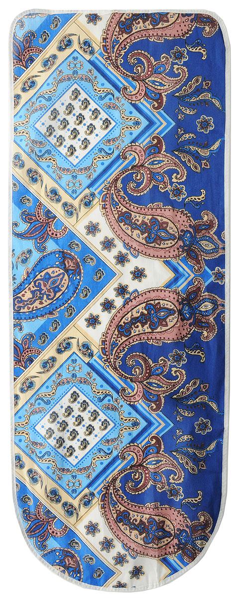 Чехол для гладильной доски Detalle, универсальный, цвет: синий, бежевый, 125 х 47 смЕ1301_синий, бежевыйЧехол для гладильной доски Detalle,выполненный из хлопка с подкладкой из мягкоговойлокообразного полотна (ПЭФ), предназначен длязащиты или замены изношенного покрытия гладильнойдоски. Чехол снабжен стягивающим шнуром, при помощикоторого вы легко отрегулируете оптимальное натяжениечехла и зафиксируете его на рабочей поверхностигладильной доски. Из войлокообразного полотна вы можете вырезатьподкладку любого размера, подходящую именно длявашей доски.Этот качественный чехол обеспечит вам легкоеглажение. Он предотвратит образование блеска иотпечатков металлической сетки гладильной доски наодежде. Войлокообразное полотно практично идолговечно в использовании.Размер чехла: 125 x 47 см. Максимальный размер доски: 120 х 42 см. Размер войлочного полотна: 130 х 52 см.
