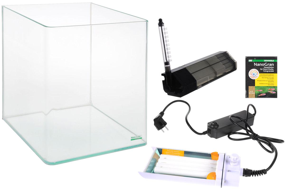 Комплект Dennerle NanoCube Complete, 60 лDEN5862Комплект Dennerle NanoCube Complete включает в себя аквариум, стеклянную крышку, черный фон, коврик, фильтр, светильник, пакет грунта, пакет грунтовой подкормки и термометр. Аквариум выполнен из прочного стекла.Объем аквариума: 60 л.Размер аквариума: 38 х 38 х 43 см.Мощность светильника: 24 Вт.Температура света светильника: 8000 К.