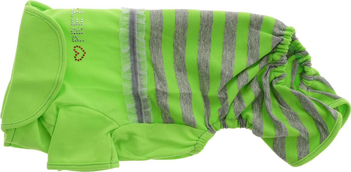Комбинезон для собак Pret-a-Pet Фэшн Ультра, для девочки, цвет: зеленый, серый. Размер S. MOS-002MOS-002-GREEN-SКомбинезон для собак Pret-a-Pet Фэшн Ультра, изготовленный из вискозы, отлично подойдет для прогулок в сухую погоду или для дома.Изделие оснащено внутренней резинкой, благодаря чему его легко надевать и снимать. Низ рукавов и брючин имеетспециальные прорези для лапок. Спинка украшена текстильной ленточкой и стразами. Застегивается комбинезон на металлические кнопки, расположенные на животе.Благодаря такому комбинезону вашему питомцу будет комфортно наслаждаться прогулкой или играми дома.Длина по спинке: 23-25 см.Объем груди: 31-33 см.Обхват шеи: 24 см.