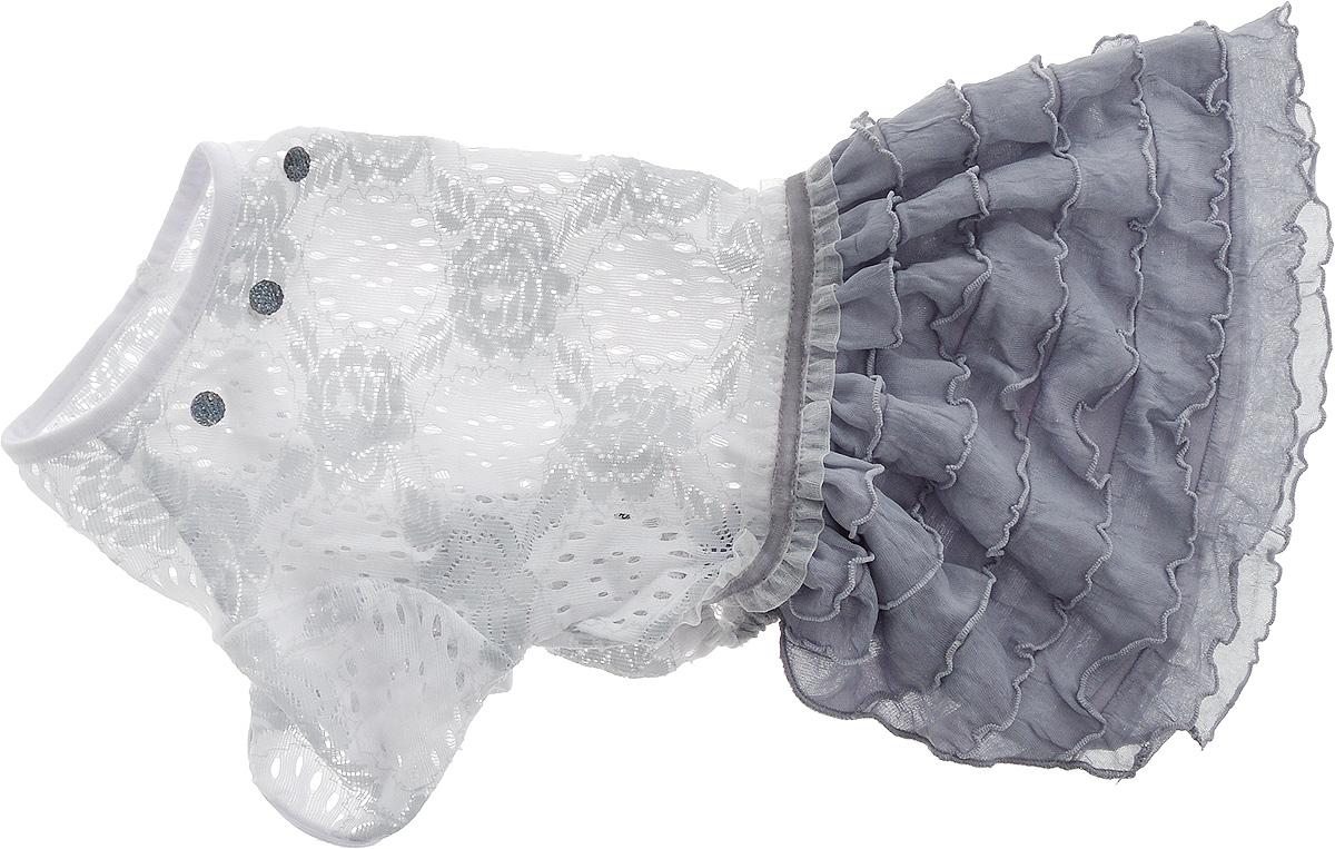Платье для собак Pret-a-Pet Кружево, для девочки, цвет: белый, серый. Размер LMOS-007-LПлатье для собак Pret-a-Pet Кружево, изготовленное из полиэстера и ажурного текстиля, отлично подойдет для прогулок в сухую погоду.Изделие оснащено внутренней резинкой, благодаря чему его легко надевать и снимать. Спинка декорирована оригинально брошкой.Благодаря такому платью вашему питомцу будет комфортно наслаждаться прогулкой или играми дома.Длина по спинке: 28-30 см.Объем груди: 43-45 см.Обхват шеи: 30 см.