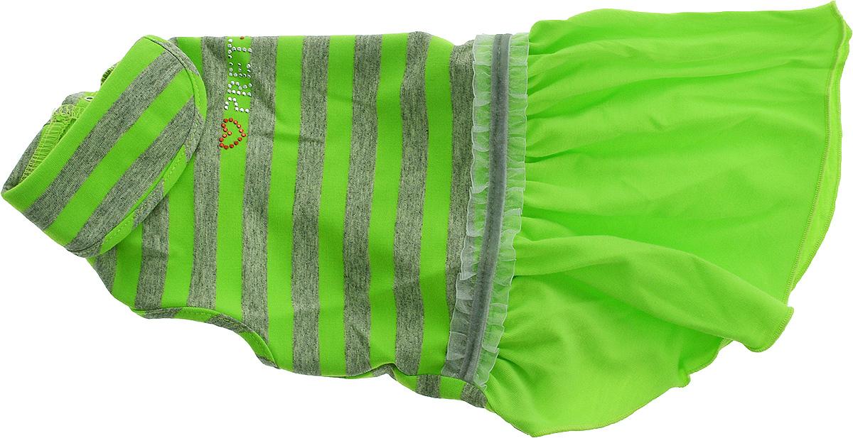 Платье для собак Pret-a-Pet  Фэшн Ультра , для девочки, цвет: зеленый, серый. Размер L - Одежда, обувь, украшения