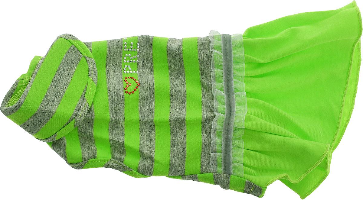Платье для собак Pret-a-Pet Фэшн Ультра, для девочки, цвет: зеленый, серый. Размер XSMOS-004-GREEN-XSПлатье для собак Pret-a-Pet Фэшн Ультра, изготовленное из вискозы, отлично подойдет для прогулок в сухую погоду или для дома.Изделие оснащено внутренней резинкой. Спинка украшена текстильной ленточкой и стразами. Застегивается платье на животе на металлические кнопки.Благодаря такому платью вашему питомцу будет комфортно наслаждаться прогулкой или играми дома.Длина по спинке: 19-21 см.Объем груди: 26-28 см.Обхват шеи: 24 см.