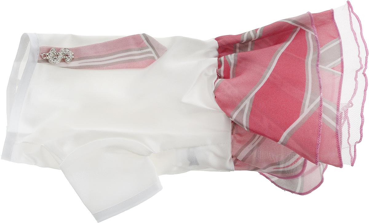 Платье для собак Pret-a-Pet Галстук, для девочки, цвет: белый, розовый. Размер XSMOS-023-XSПлатье для собак Pret-a-Pet Галстук, изготовленное из искусственного шелка, отлично подойдет для прогулок в сухую погоду.Низ изделия снабжен подкладкой из фатина. Спинка украшена галстуком и оригинальной подвеской со стразами. Застегивается платье на животе на металлические кнопки.Благодаря такому платью вашему питомцу будет комфортно наслаждаться прогулкой или играми дома.Длина по спинке: 19-21 см.Объем груди: 26-28 см.Обхват шеи: 24 см.