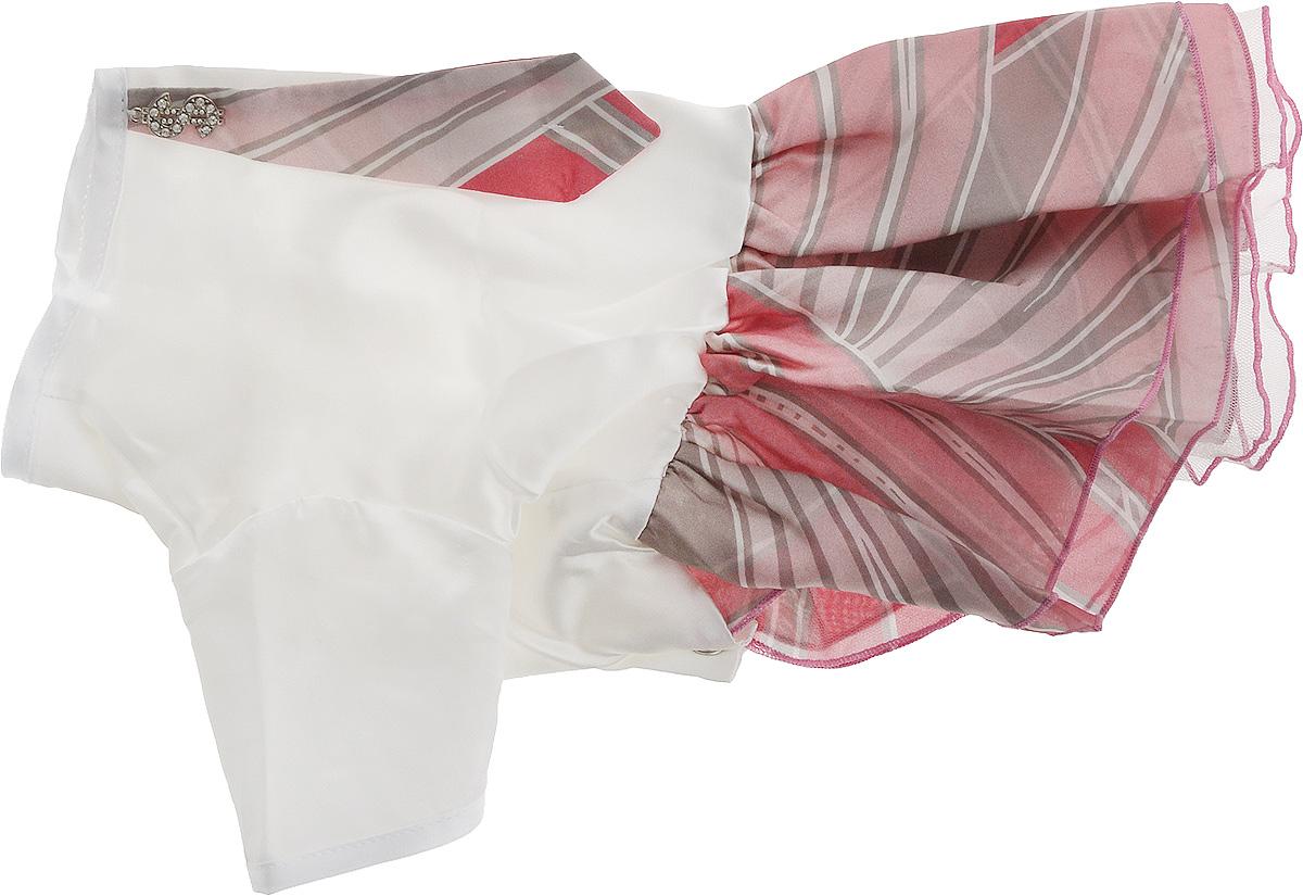 Платье для собак Pret-a-Pet Галстук, для девочки, цвет: белый, розовый. Размер LMOS-023-LПлатье для собак Pret-a-Pet Галстук, изготовленное из искусственного шелка, отлично подойдет для прогулок в сухую погоду.Низ изделия снабжен подкладкой из фатина. Спинка украшена галстуком и оригинальной подвеской со стразами. Застегивается платье на животе на металлические кнопки.Благодаря такому платью вашему питомцу будет комфортно наслаждаться прогулкой или играми дома.Длина по спинке: 28-30 см.Объем груди: 43-45 см.Обхват шеи: 30 см.