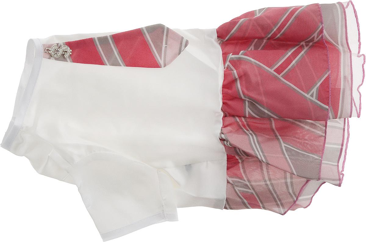 Платье для собак Pret-a-Pet Галстук, для девочки, цвет: белый, розовый. Размер MMOS-023-MПлатье для собак Pret-a-Pet Галстук, изготовленное из искусственного шелка, отлично подойдет для прогулок в сухую погоду.Низ изделия снабжен подкладкой из фатина. Спинка украшена галстуком и оригинальной подвеской со стразами. Застегивается платье на животе на металлические кнопки.Благодаря такому платью вашему питомцу будет комфортно наслаждаться прогулкой или играми дома.Длина по спинке: 27-29 см.Объем груди: 37-39 см.Обхват шеи: 28 см.