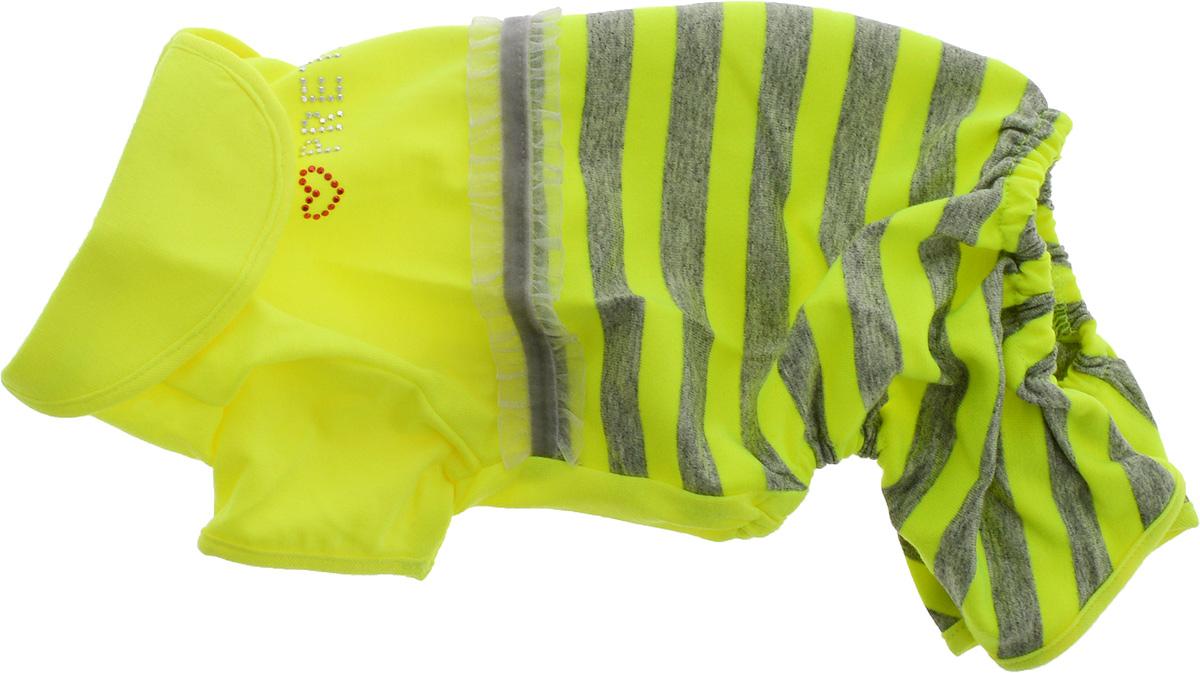 Комбинезон для собак Pret-a-Pet Фэшн Ультра, для девочки, цвет: желтый, серый. Размер SMOS-003-YELLOW-SКомбинезон для собак Pret-a-Pet Фэшн Ультра, изготовленный из вискозы, отлично подойдет для прогулок в сухую погоду или для дома.Изделие оснащено внутренней резинкой, благодаря чему его легко надевать и снимать. Низ рукавов и брючин имеетспециальные прорези для лапок. Спинка украшена текстильной ленточкой и стразами. Застегивается комбинезон на металлические кнопки, расположенные на животе.Благодаря такому комбинезону вашему питомцу будет комфортно наслаждаться прогулкой или играми дома.Длина по спинке: 23-25 см.Объем груди: 31-33 см.Обхват шеи: 24 см.