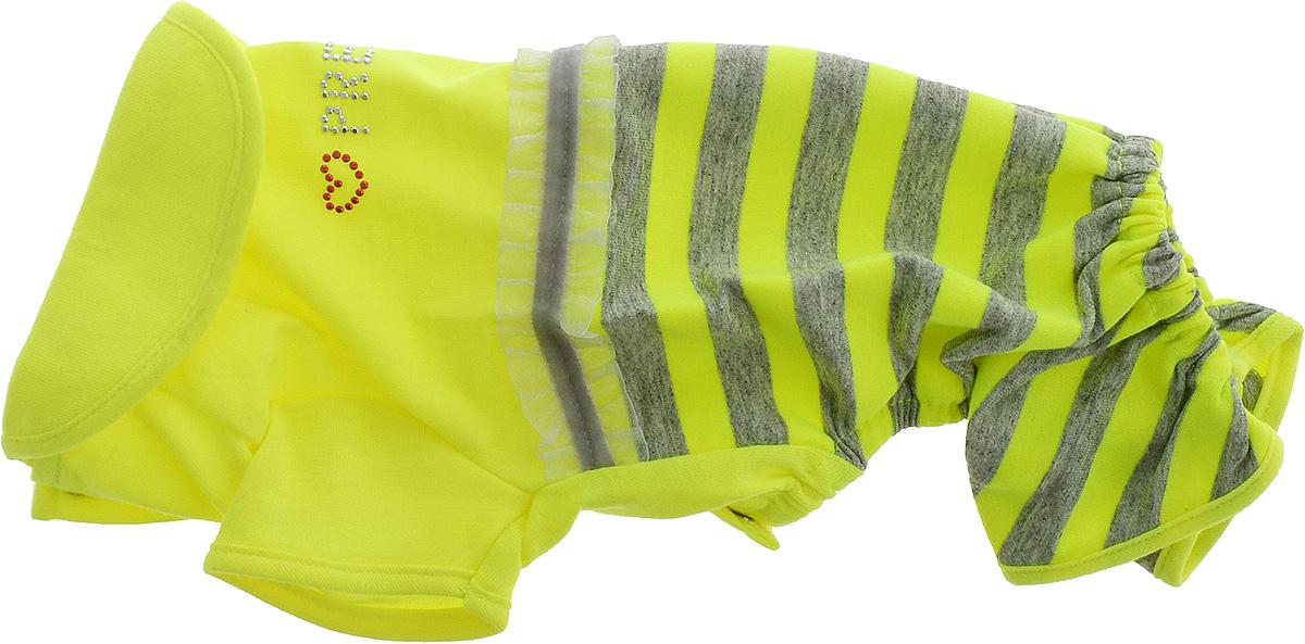 Комбинезон для собак Pret-a-Pet Фэшн Ультра, для девочки, цвет: желтый, серый. Размер XSMOS-003-YELLOW-XSКомбинезон для собак Pret-a-Pet Фэшн Ультра, изготовленный из вискозы, отлично подойдет для прогулок в сухую погоду или для дома.Изделие оснащено внутренней резинкой, благодаря чему его легко надевать и снимать. Низ рукавов и брючин имеетспециальные прорези для лапок. Спинка украшена текстильной ленточкой и стразами. Застегивается комбинезон на металлические кнопки, расположенные на животе.Благодаря такому комбинезону вашему питомцу будет комфортно наслаждаться прогулкой или играми дома.Длина по спинке: 19-21 см.Объем груди: 26-28 см.Обхват шеи: 24 см.