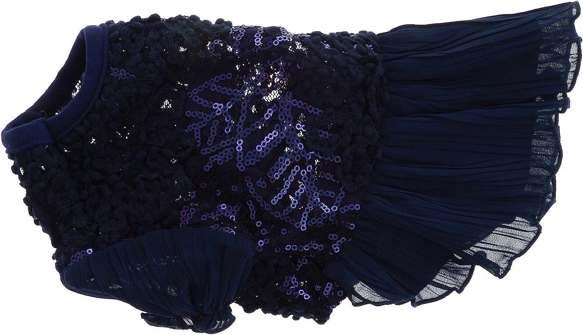 Платье для собак Pret-a-Pet , для девочки, цвет: темно-синий. Размер SMOS-011-plisse-SПлиссированное платье для собак Pret-a-Pet , изготовленное из полиэстера, ажурного текстиля (кружева) и вискозы, отлично подойдет для прогулок в сухую погоду.Низ изделия снабжен подкладкой. Платье украшено пайетками и оснащено внутренней резинкой, благодаря чему его легко надевать и снимать.В таком платье вашему питомцу будет комфортно наслаждаться прогулкой или играми дома.Длина по спинке: 23-25 см.Объем груди: 31-33 см.Обхват шеи: 24 см.