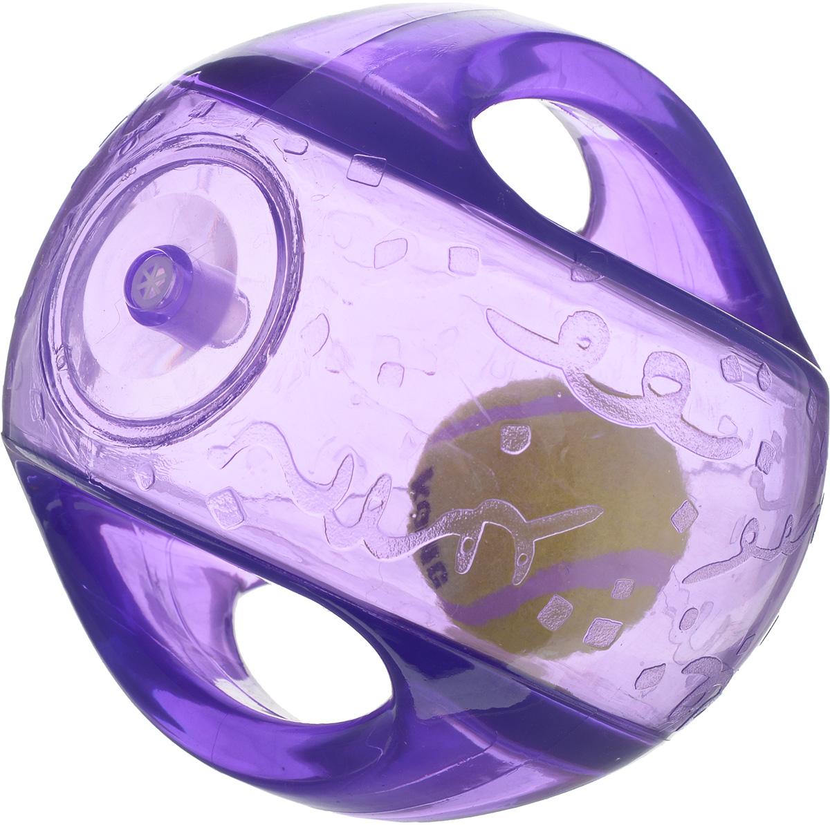 Игрушка для собак Kong Мячик, с пищалкой, цвет: прозрачный, фиолетовый, 12 х 12 х 12 см игрушка для собак kong регби с пищалкой цвет прозрачный фиолетовый 18 х 9 х 9 см
