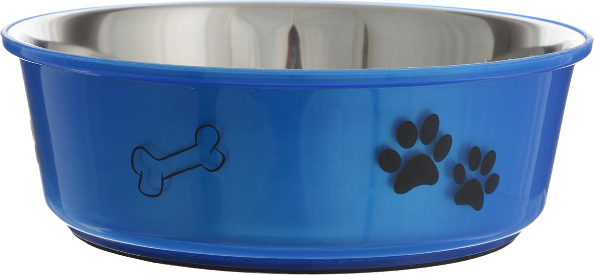 Миска для собак Каскад, цвет: синий, стальной, 1,5 л76800140_синийМиска для собак Каскад, изготовленная из высококачественного пластика и нержавеющей стали, предназначена для корма и воды. Она порадует удобством использования как самих животных, так и их хозяев. Яркий дизайн придаст изделию индивидуальность и удовлетворит вкус самых взыскательных зоовладельцев. Основание миски снабжено нескользящей резиновой вставкой, благодаря которой она устойчива на любой поверхности. Диаметр миски (по верхнему краю): 21,5 см.Диаметр основания: 16,5 см. Высота миски: 7,5 см.