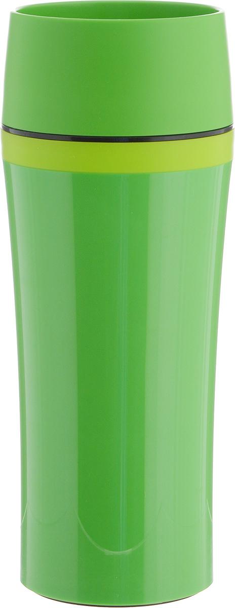 Термокружка Emsa Travel Mug Fun, цвет: зеленый, 360 мл514177Термокружка Emsa Travel Mug Fun - это идеальный попутчик в дороге - не важно, по пути ли на работу, в школу или во время похода по магазинам. Вакуумная кружка на 100 % герметична. Корпус выполнен из высококачественного пищевого пластика и имеет двойные стенки, благодаря чему температура жидкости сохраняется долгое время. Термокружка открывается нажатием кнопки, можно пить из нее с любой стороны. Пробка разбирается и превосходно моется. Дно кружки выполнено из силикона, что препятствует скольжению. Кружка легкая и не занимает много места. Можно мыть в посудомоечной машине. Диаметр кружки по верхнему краю: 8 см.Диаметр дна кружки: 7 см.Высота кружки: 20 см.