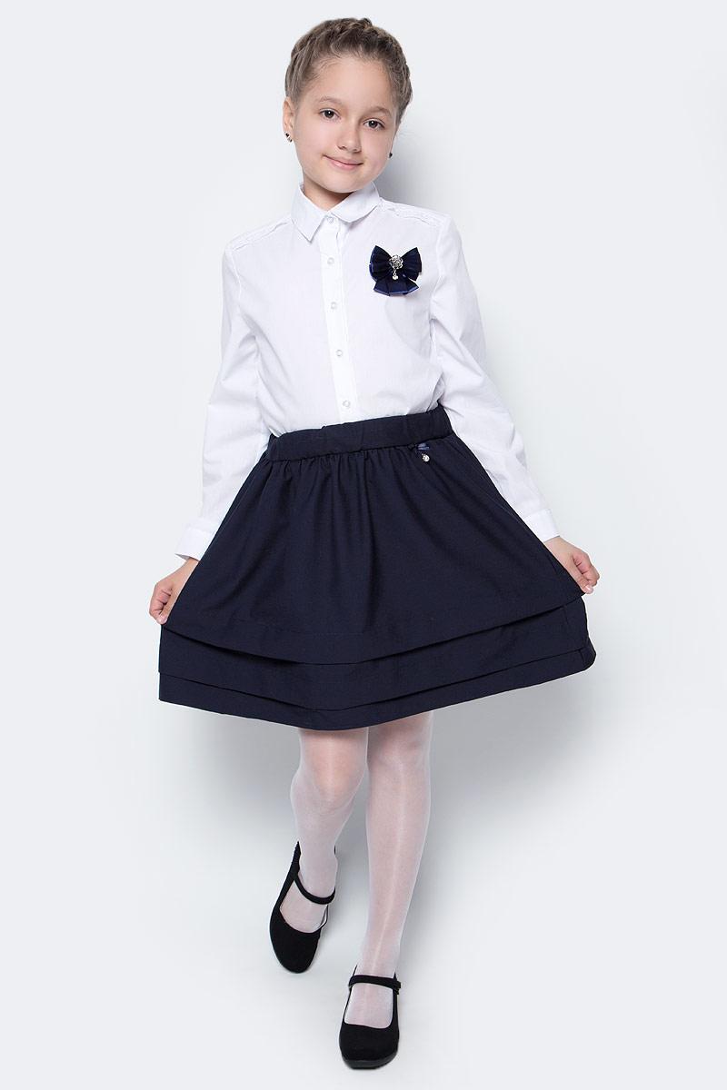 Юбка для девочки Nota Bene, цвет: темно-синий. CWA27006B29. Размер 146CWA27006B29/CWA27006A29Стильная юбка для девочки от Nota Bene выполнена из вискозы и полиэстера с добавлением лайкры. Модель оснащена эластичной резинкой на талии.