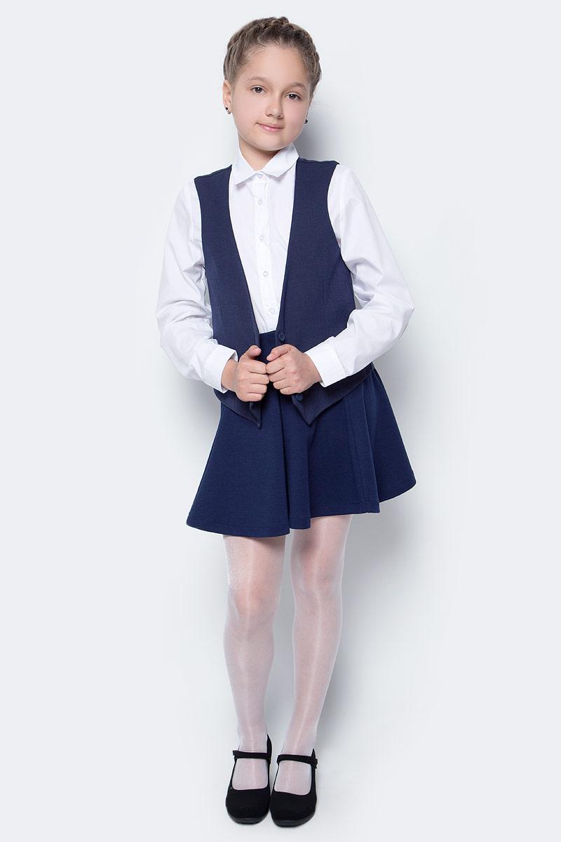 Жилет для девочки Button Blue, цвет: темно-синий. 217BBGS47011000. Размер 164, 14 лет217BBGS47011000Стоит ли одевать жилеты в школу? Конечно, ведь школьные жилеты для девочек - прекрасная альтернатива пиджаку. Удобные, комфортные, практичные, школьные жилеты красиво завершат любой комплект. Купить модный жилет для школы недорого возможно, если это жилет от Button Blue! Достойный состав обеспечит уют, удобство в повседневной носке, высокую износостойкость.