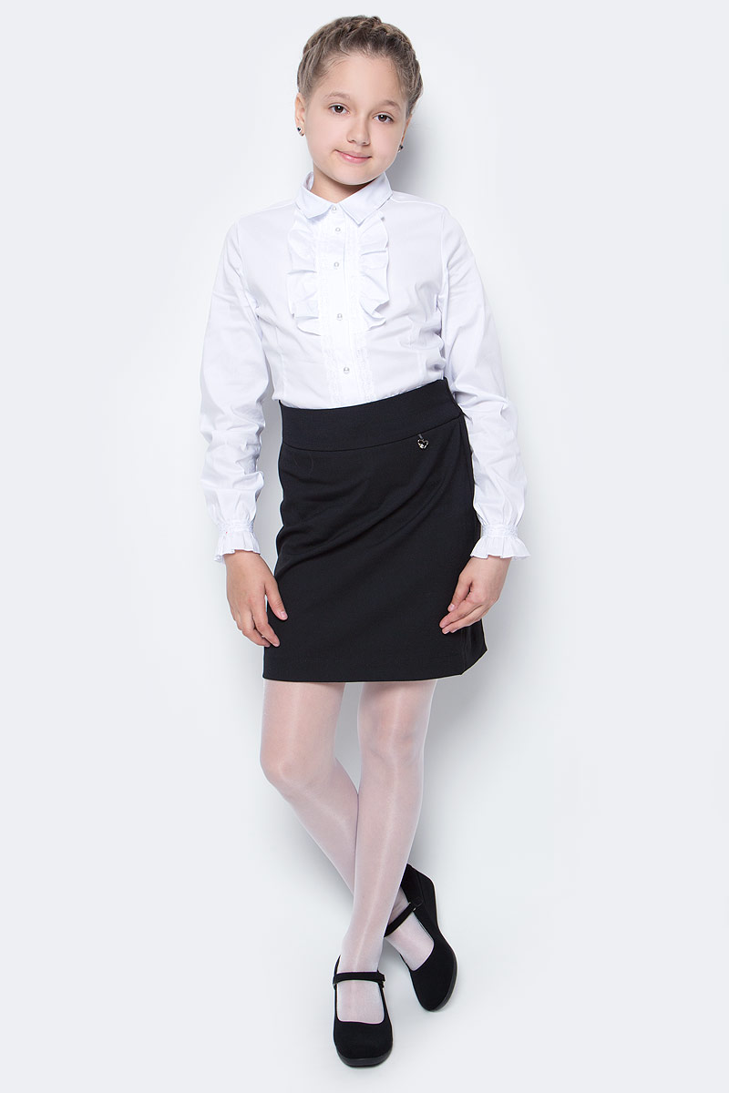 Юбка для девочки Nota Bene, цвет: черный. CWA270P1A21. Размер 122CWA270P1B21/CWA270P1A21Стильная юбка для девочки от Nota Bene выполнена из вискозы и полиэстера с добавлением лайкры. Модель стандартной посадки застегивается на застежку-молнию.