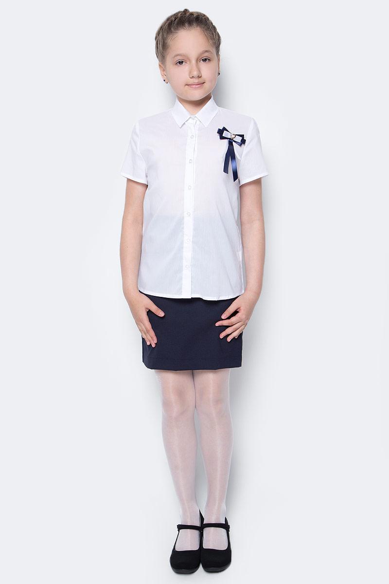 Рубашка для девочки Nota Bene, цвет: белый. CWR27021A01. Размер 122CWR27021B01/CWR27021A01Стильная рубашка для девочки от Nota Bene выполнена из хлопка и полиэстера с добавлением лайкры. Модель с отложным воротником и короткими рукавами застегивается на пуговицы по всей длине.
