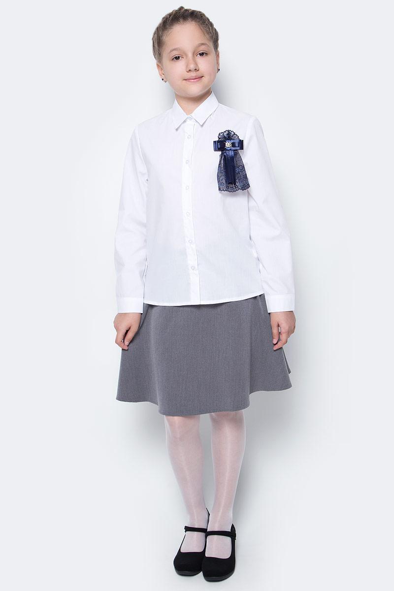 Рубашка для девочки Nota Bene, цвет: белый. CWR27022A01. Размер 128CWR27022B01/CWR27022A01Стильная рубашка для девочки от Nota Bene выполнена из хлопка и полиэстера. Модель с отложным воротником и длинными рукавами застегивается на пуговицы по всей длине. Манжеты рукавов оснащены застежками-пуговицами.
