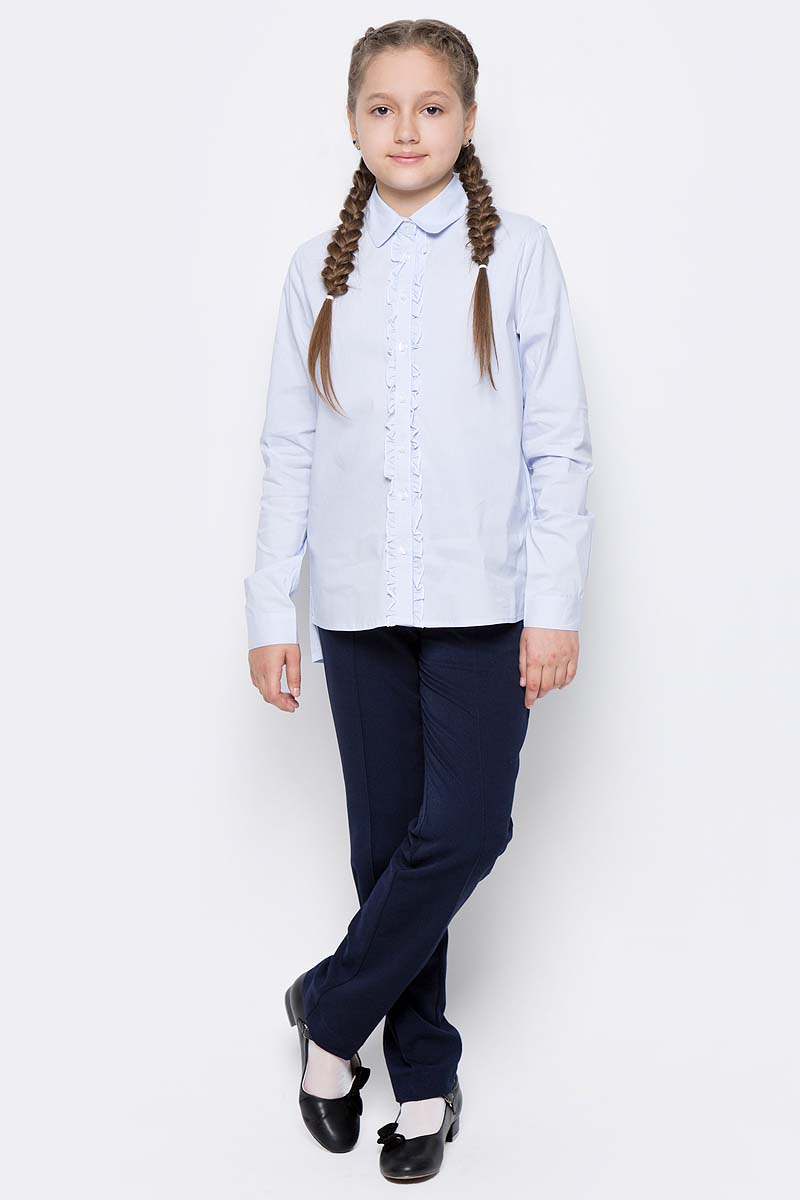 Блузка для девочки Gulliver, цвет: голубой. 217GSGC2209. Размер 134217GSGC2209Если вы хотите купить школьную блузку для девочки, не ограничивайте свой выбор исключительно белыми блузками. Красивые блузки для школы могут быть разными! Блузка в полоску - отличный вариант на каждый день! Строгая, элегантная, интеллигентная полосатая блузка с неброским декором сделает образ ученицы свежим и интересным.