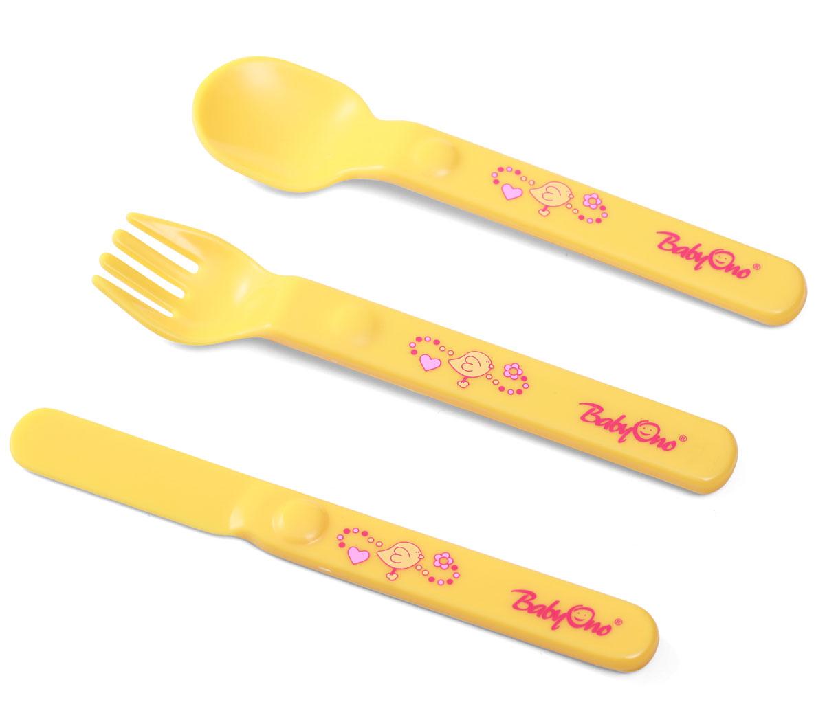 BabyOno Набор детских столовых приборов цвет желтый 3 предмета115510Набор детских столовых приборов BabyOno подойдет для подросших деток, которые уже пытаются кушать самостоятельно.Приборы имеют насыщенный приятный цвет; края ложечки и вилочки не травмирует десна. У столовых приборов удобные ручки; ножик совершенно безопасный. Изделия изготовлены из безопасного пластика, идеальны для освоения навыков самостоятельного приема пищи. Форма столовых предметов рассчитана для маленьких детских ручек.