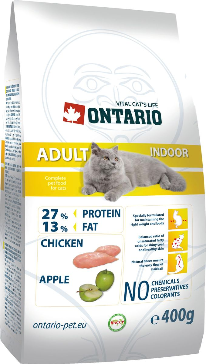 Полнорационный_сухой_корм_для_кошек_Ontario_~Adult_Indoor~__изготовлен_из_высококачественных_ингредиентов_на_основе__100%25_мяса_в_собственном_соку._Технология_производства__корма_позволяет_сохранить_все_витамины_и_полезные__вещества._Высокое_содержание_мяса_гарантирует_получение__животным_необходимого_количества_питательных_веществ_и__обеспечивает_высокое_содержание_белка_в_корме.__Пивные_дрожжи_содержат_витамины_группы_В_и_ферменты,__способствуют_росту_полезных_бактерий_в_кишечнике_и__улучшают_состояние_кожи_и_шерсти_животных._Лососевый_жир_богат_незаменимыми_жирными_кислотами__Омега_3,_оказывающими_благотворное_влияние_на_все_органы__и_системы_организма,_особенно_на_шерсть_животных.__Употребление_незаменимых_жирных_кислот_также__способствует_профилактике_заболеваний_сердца.__Яблоки_богаты_клетчаткой_(пектином),_способствующей__пищеварению_и_выводящей_токсины_из_кишечника,_а_также__являются_источником_витаминов_и_антиоксидантов._Состав:_курица_и_ее_производные_(минимум_27%25),_маис,_рис,__жир_домашней_птицы,_гидролизованный_белок_домашней__птицы,_сушеные_яблоки,_дегидрированная_рыба_(минимум__5%25),_пивные_дрожжи,_гидролизованная_печень_домашней__птицы,_лососевый_жир._Гарантированный_анализ:_белок_27%25,_жир_13%25,_влага_10%25,__зола_6,6%25,_клетчатка_4,5%25,_кальций_1,1%25,_фосфор_1,0%25,_натрий__0,18%25,_магний_0,08%25._Добавки:_витамин_A_20,000_IU,_витамин_D3_2,000_IU,_витамин_E__(альфатокоферол)_500_мг,_таурин_1,400_мг,_E4_медь_21_мг,_E6__цинк_10.5_мг,_E8_селен_0.3_мг.__Товар_сертифицирован.