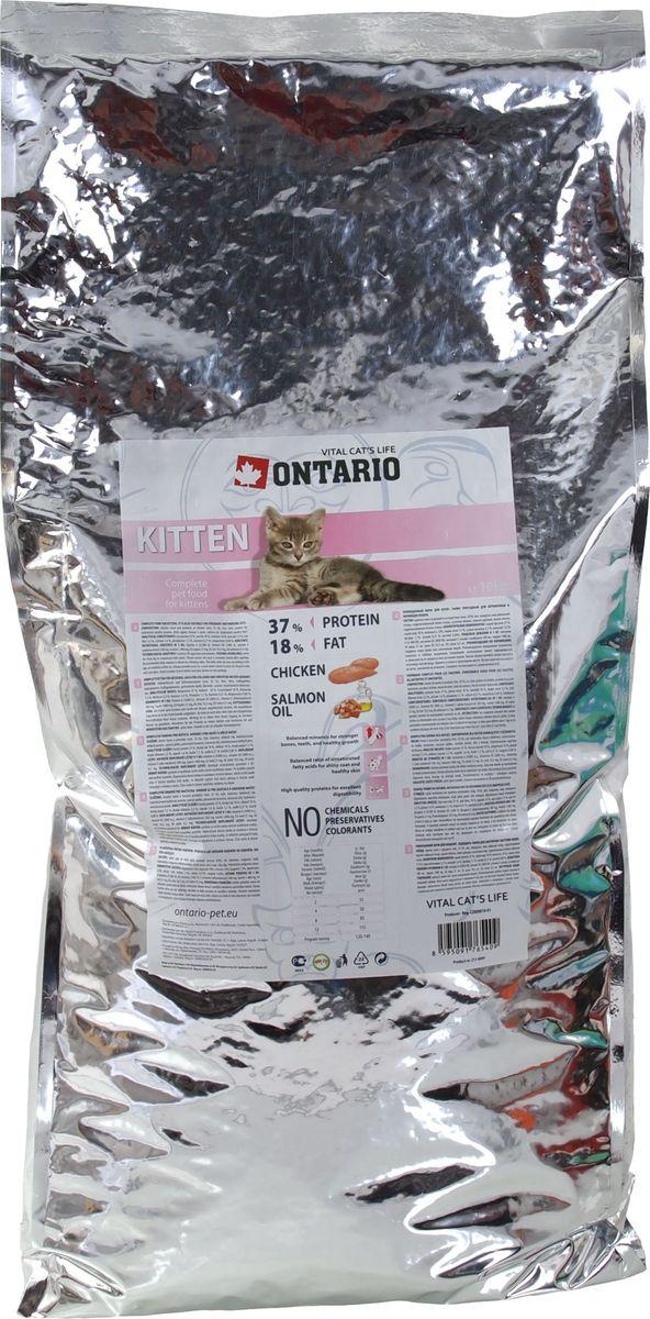 Корм сухой Ontario Kitten для котят, с курицей, 10 кг20777Полнорационный сухой корм Ontario Kitten предназначен для котят, также подходит для беременных и кормящих кошек.Технология производства корма позволяет сохранить все витамины и полезные вещества. Высокое содержание мяса гарантирует получение животным необходимого количества питательных веществ и обеспечивает высокое содержание белка в корме. Котята и беременные кошки особенно нуждаются в сбалансированном питании для обеспечения здорового роста и развития, поэтому корм для них максимально питательный.Пивные дрожжи содержат витамины группы В и ферменты, способствуют росту полезных бактерий в кишечнике, улучшают состояние кожи и шерсти животных.Лососевый жир богат незаменимыми жирными кислотами Омега-3, оказывающими благотворное влияние на все органы и системы организма, особенно на шерсть животных. Употребление незаменимых жирных кислот также способствует профилактике заболеваний сердца. Яблоки богаты клетчаткой (пектином), способствующей пищеварению и выводящей токсины из кишечника, а также являются источником витаминов и антиоксидантов.Состав: курица и ее производные (минимум 35%), рис, маис, гидролизованный белок домашней птицы, жир домашней птицы, сушеные яблоки, пивные дрожжи, лососевый жир, гидролизованная печень домашней птицы.Гарантированный анализ: белок 37%, жир 18%, влага 10%, зола 7,3%, клетчатка 2,2%, кальций 1,6%, фосфор 1,1%, натрий 0,21%, магний 0,08%.Добавки: витамин A 25,000 IU, витамин D3 2,000 IU, витамин E (альфа-токоферол) 500 мг, таурин 1,400 мг, E4 медь 21 мг, E6 цинк 10.5 мг, E8 селен 0.3 мг. Товар сертифицирован.