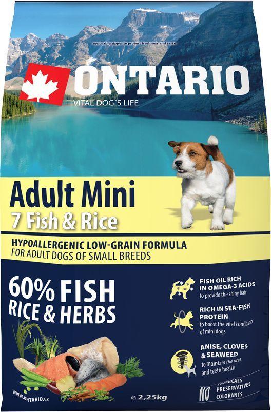 Корм сухой Ontario  Adult Mini  для собак мелких пород, с 7 видами рыбы и рисом, 2,25 кг