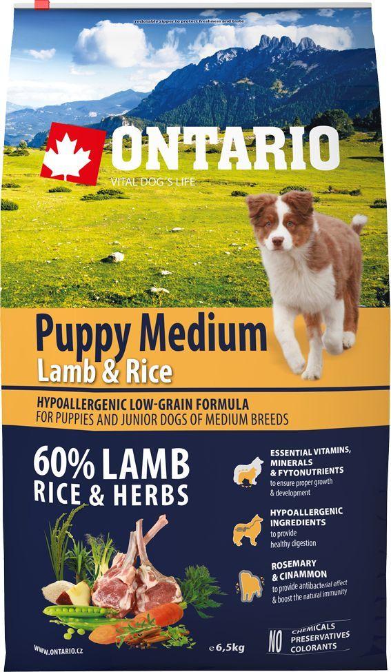 Корм сухой Ontario Puppy Medium для щенков средних пород, с ягненком и рисом, 6,5 кг корм сухой ontario puppy mini для щенков мелких пород с ягненком и рисом 750 г