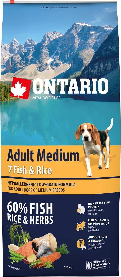 Корм сухой Ontario Adult Medium для собак средних пород, с 7 видами рыбы и рисом, 12 кг корм сухой ontario adult indoor для домашних кошек с цыпленком 400 г