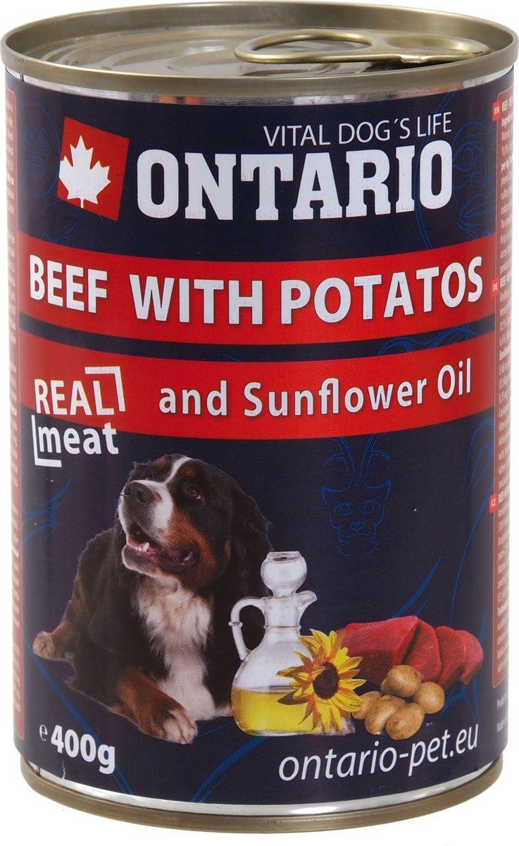 Консервы для собак Ontario, с говядиной и картофелем, 400 г46643Консервы Ontario - полнорационный корм для собак. Для этих консервов отобраны только самые лучшие ингредиенты, чтобы порадовать вашего пушистого гурмана. При изготовлении консервов используется только отборное мясо и натуральный мясной бульон, а также витамины и минералы для поддержания здоровья питомца. Подсолнечное масло содержит высокий процент полиненасыщенных жиров, особенно оно богато омега 6, а также витамином Е и магнием. Поэтому подсолнечное масло благотворно влияет на состояние шерсти и кожного покрова, а также способствует профилактике сердечно-сосудистых заболеваний.Состав: 65% мясо и его производные (из которых 30% говядина), бульон (28,5%), овощи (5% картофель), 1% минералы, масла и жиры (0,5% подсолнечное масло). Гарантированный анализ: белок 10%, жир 6,6%, зола 2,5%, клетчатка 0,4%, влага 76%.Добавки: витамин D3 200 МЕ, витамин E, альфа-токоферол ацетат 30 мг, моногидрат сульфата цинка 15 мг, сульфат марганца II моногидрат 3 мг, йодат кальция безводного 0,75 мг.Товар сертифицирован.