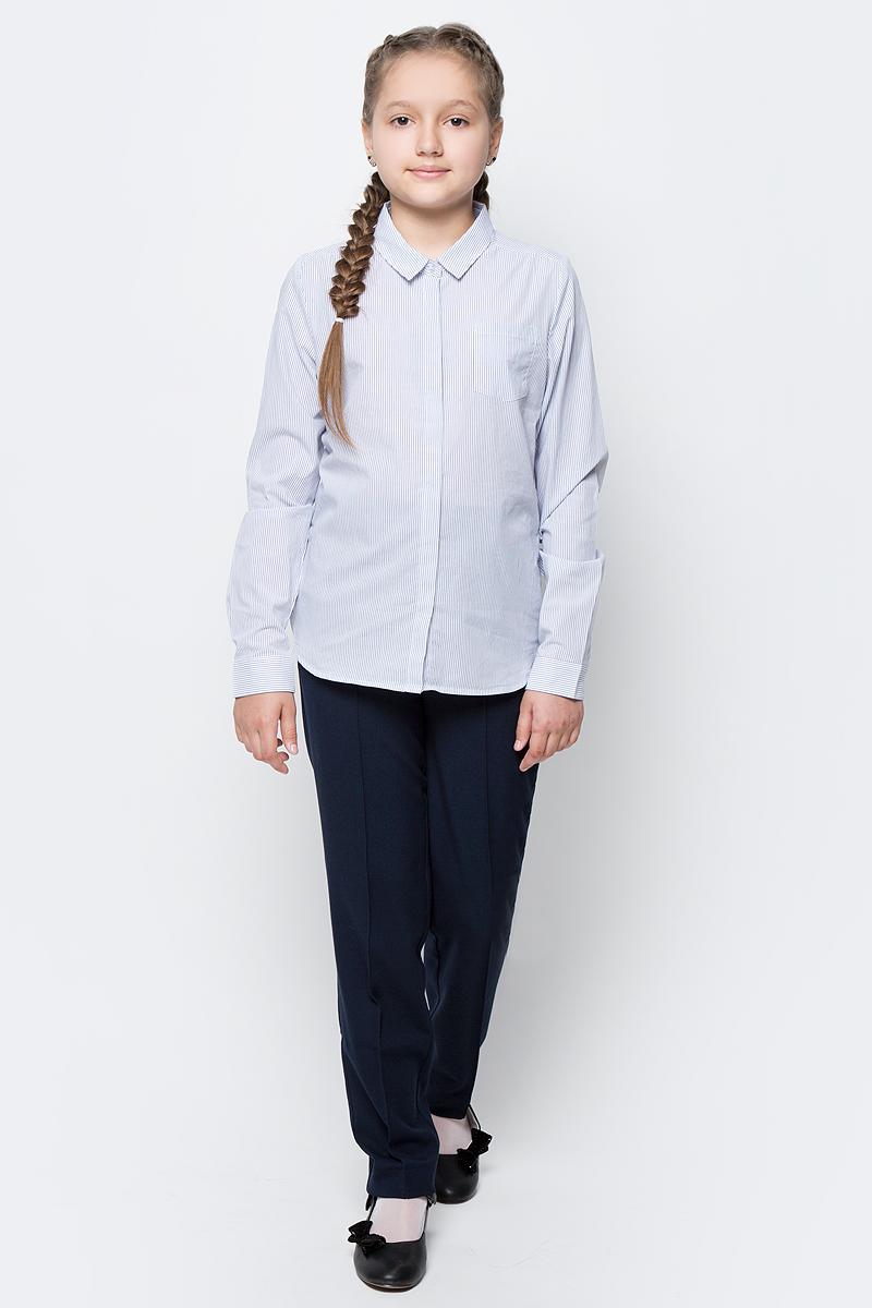 Рубашка для девочки Sela, цвет: темно-синий, белый. B-612/845-7151. Размер 116, 6 летB-612/845-7151Рубашка для девочки Sela выполнена из натурального хлопка. Рубашка с длинными рукавами и отложным воротником застегивается на пуговицы спереди. Манжеты рукавов также застегиваются на пуговицы. Рубашка оформлена принтом в полоску. На груди расположен накладной карман.