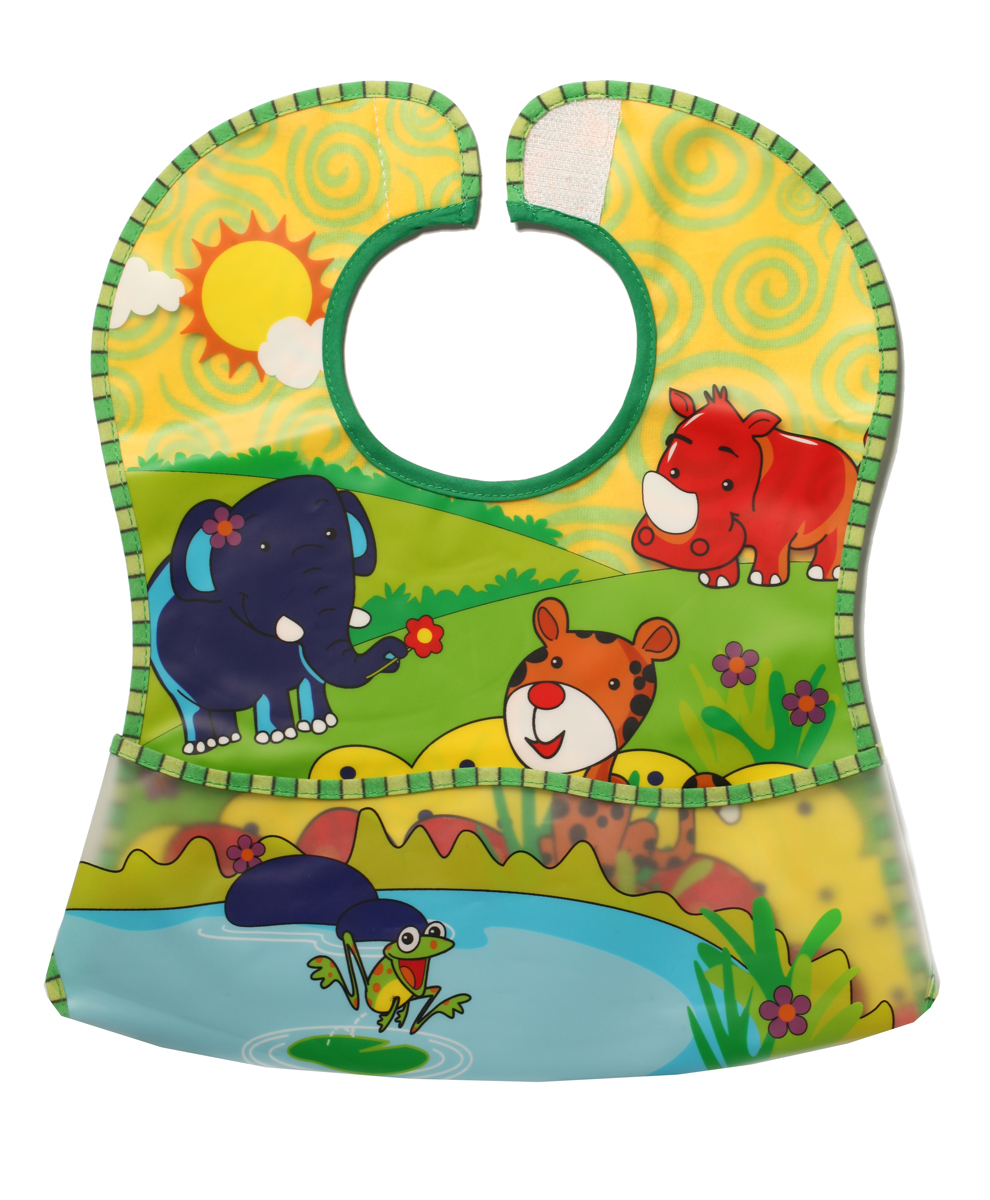 BabyOno Нагрудник с карманом цвет зеленый красный желтый babyono жираф желтый
