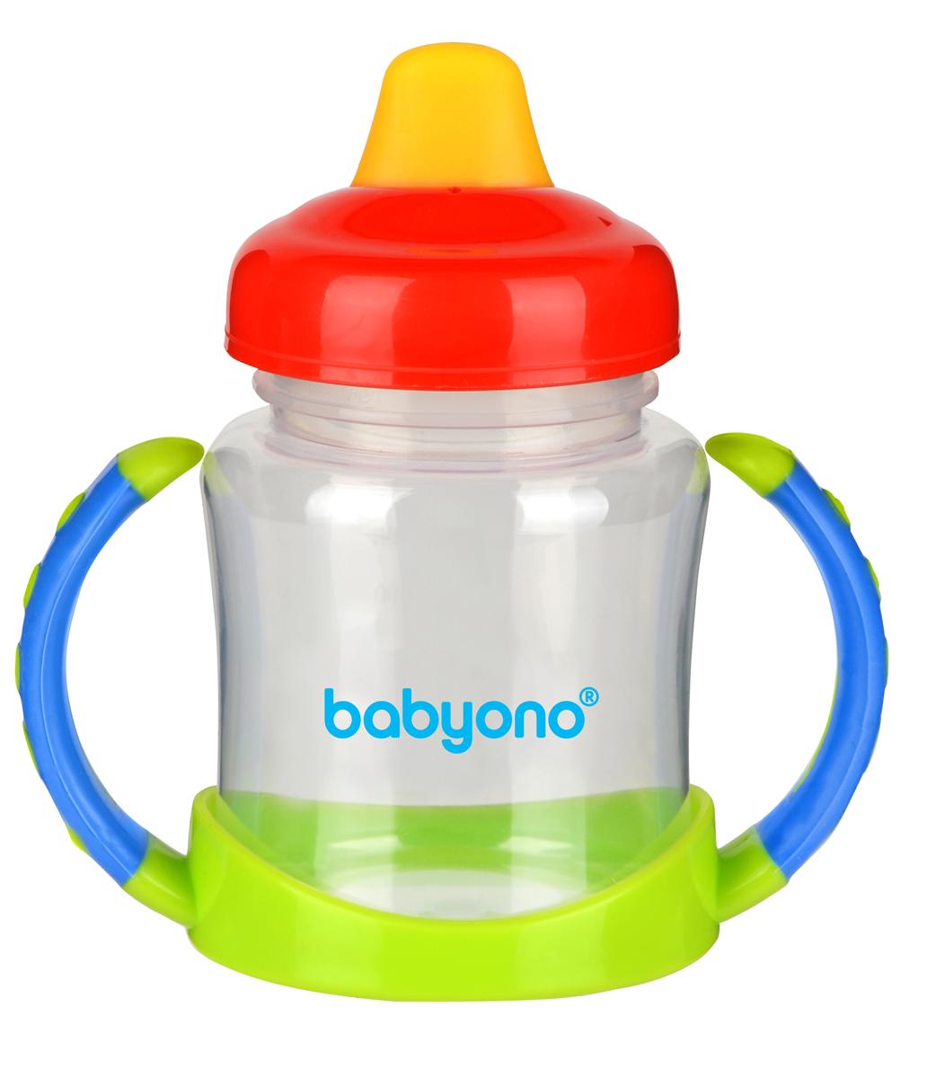 BabyOno Поильник-непроливайка от 6 месяцев цвет красный синий салатовый 180 мл