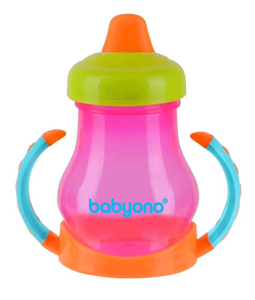 BabyOno Поильник-непроливайка от 6 месяцев цвет салатовый бирюзовый фуксия 180 мл