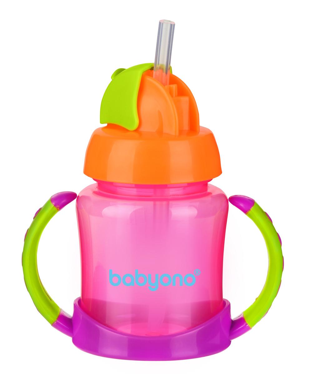 BabyOno Поильник-непроливайка с трубочкой от 6 месяцев цвет фуксия оранжевый салатовый 180 мл