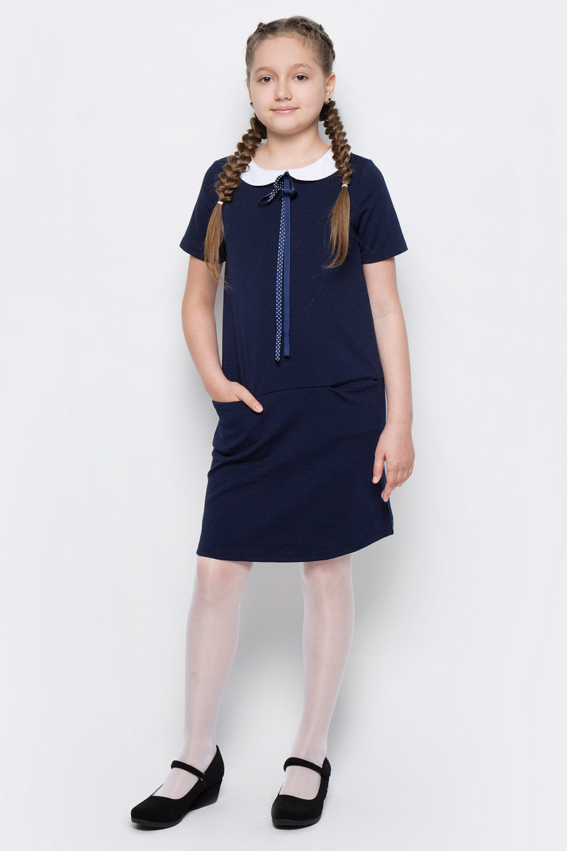 Платье для девочки Scool, цвет: темно-синий, белый. 374470. Размер 122, 7 лет374470Платье для девочки Scool выполнено из полиэстера, вискозы и эластана. Модель с круглым вырезом горловины и короткими рукавами застегивается сзади на молнию. Спереди расположены карманы. Платье дополнено съемным воротником на пуговицах. В качестве декора на изделии использован аккуратный бант из тонкой атласной ленты.