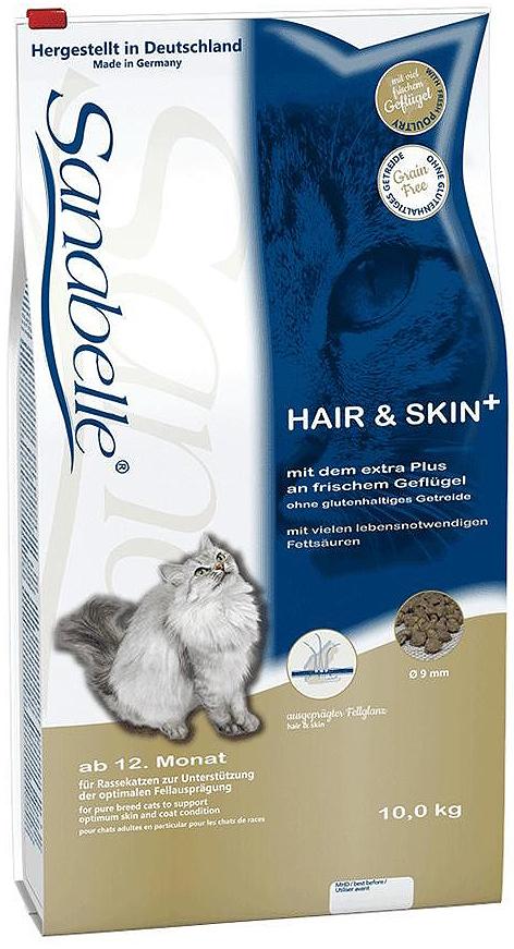 Корм сухой Sanabelle Hair & Skin для выставочных и привередливых кошек, 10 кг57822Корм сухой Sanabelle Hair & Skin - полноценный корм для выставочных и привередливых кошек. Поддерживает кожу и шерсть в оптимальной кондиции. Обеспечьте питомца постоянным свободным доступом к свежей воде.Состав: мясо домашней птицы (20%), кукуруза, ячмень, животный жир, мука из лосося, печень, гидролизованное мясо, жировая клетчатка, мука из свежего мяса, клетчатка, яичный порошок, свекольная пульпа, льняное семя, дрожжи, рыбий жир, хлорид калия, поваренная соль, клюква, черника, мука из мидий, цикориевая пудра, сушёные цветки бархатцев, экстракт юкки. Добавки (в 1 кг): Питательные добавки: Витамин A: 25000 ME, Витамин D3: 1500 ME, Железо: 46 мг, Йод: 2 мг, Марганец: 60 мг, Цинк: 75 мг, Ceлeн: 0,2 мг. Содержание питательных веществ: Белки: 33%, жиры: 19%, минеральные вещества: 5,9%, клетчатка пищевая: 4,5%, протеин: 32%. Товар сертифицирован.