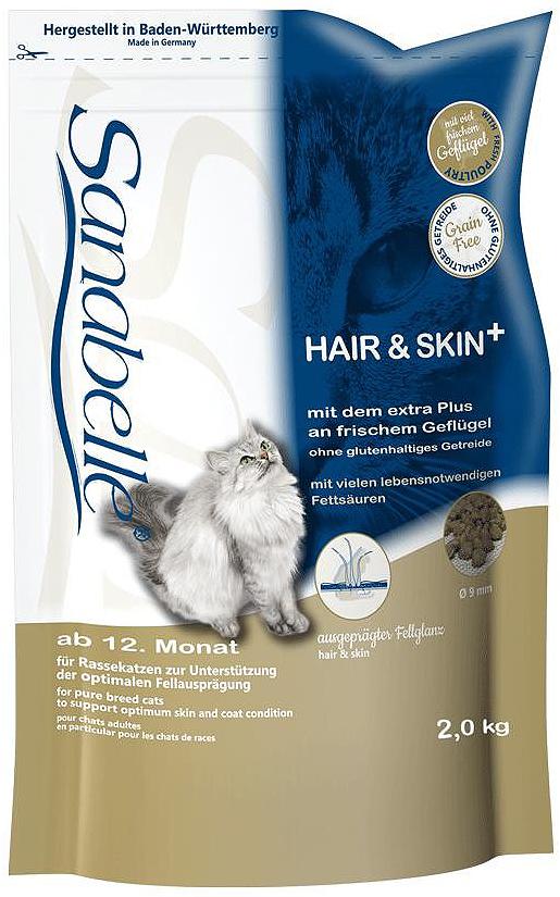 Корм сухой Sanabelle Hair & Skin для выставочных и привередливых кошек, 2 кг57821Корм сухой Sanabelle Hair & Skin - полноценный корм для выставочных и привередливых кошек. Поддерживает кожу и шерсть в оптимальной кондиции. Обеспечьте питомца постоянным свободным доступом к свежей воде.Состав: мясо домашней птицы (20%), кукуруза, ячмень, животный жир, мука из лосося, печень, гидролизованное мясо, жировая клетчатка, мука из свежего мяса, клетчатка, яичный порошок, свекольная пульпа, льняное семя, дрожжи, рыбий жир, хлорид калия, поваренная соль, клюква, черника, мука из мидий, цикориевая пудра, сушёные цветки бархатцев, экстракт юкки. Добавки (в 1 кг): Питательные добавки: Витамин A: 25000 ME, Витамин D3: 1500 ME, Железо: 46 мг, Йод: 2 мг, Марганец: 60 мг, Цинк: 75 мг, Ceлeн: 0,2 мг. Содержание питательных веществ: Белки: 33%, жиры: 19%, минеральные вещества: 5,9%, клетчатка пищевая: 4,5%, протеин: 32%. Товар сертифицирован.