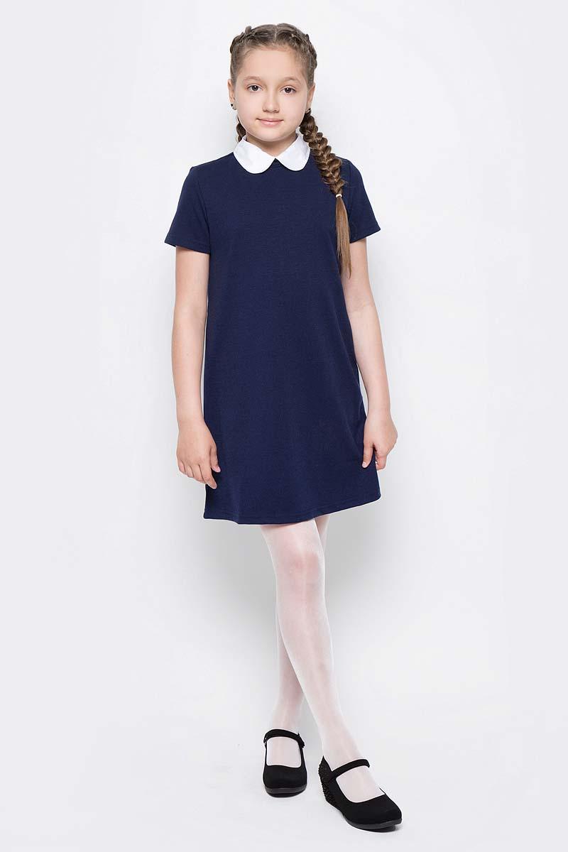 Платье для девочки Button Blue, цвет: темно-синий. 217BBGS50011000. Размер 146, 11 лет217BBGS50011000Школьные платья делают образ ученицы серьезным и элегантным. Если вы хотите купить универсальную вещь и на каждый день, и для торжественного случая, вам стоит купить школьное платье. Трикотажное школьное платье для девочек обеспечит уют, свободу движений, удобство в повседневной носке. Белый воротник подчеркнет строгость модели и нежность ее обладательницы.