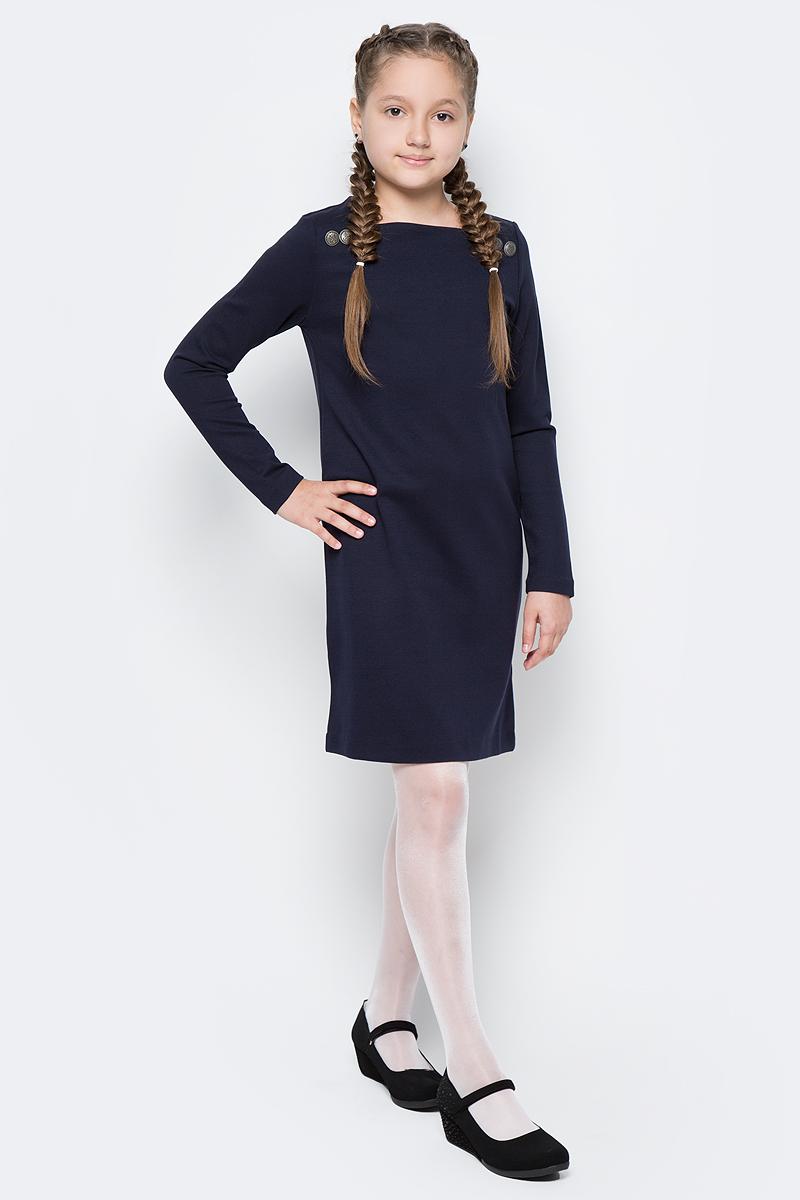 Платье для девочки Gulliver, цвет: темно-синий. 217GSGC5011. Размер 152217GSGC5011Строгое трикотажное платье - элегантный и практичный вариант на каждый день! Именно такими и должны быть школьные платья - лаконичными, красивыми и комфортными! Состав и плотность трикотажного полотна дают ощущение добротности, долговечности вещи. Пуговицы в отделке придают модели индивидуальность. Мягкая прямая форма гарантирует свободу движений и отличную посадку модели на любой фигуре. Если в школьном гардеробе вашего ребенка преобладают сарафаны, юбки, блузки, вам стоит купить школьное платье, и вы увидите, насколько это красиво и удобно. Образ можно дополнить лаковыми ботинками или предложить ученице стильные кеды.