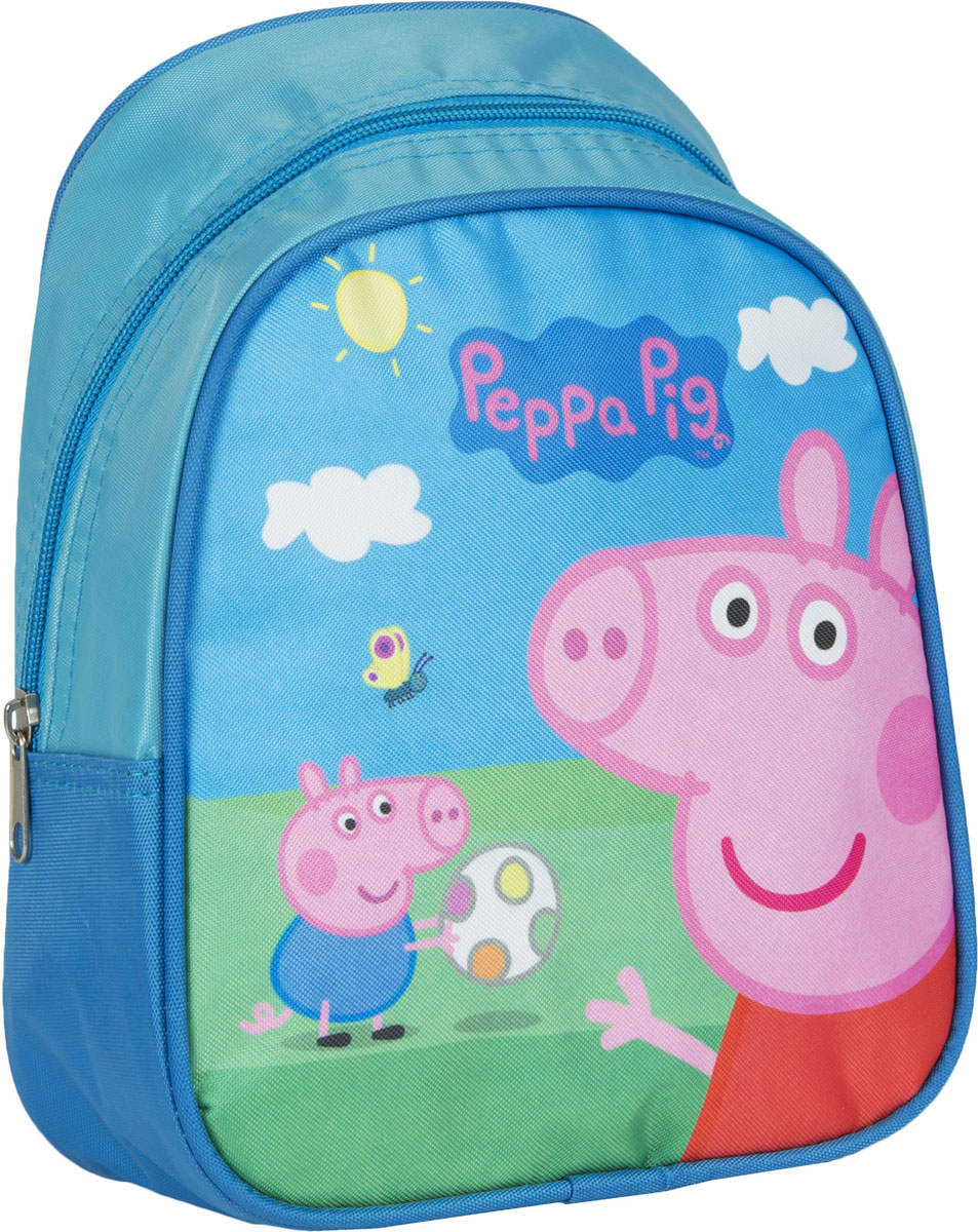 Peppa Pig Рюкзак дошкольный Свинка Пеппа цвет голубой32039Очаровательный дошкольный рюкзачок Свинка Пеппа - это невероятно привлекательный аксессуар для вашего ребенка. В его внутреннем отделении на молнии легко поместятся не только игрушки, но даже тетрадка или книжка формата А5. Благодаря регулируемым лямкам, рюкзачок подходит детям любого роста. Удобная ручка помогает носить аксессуар в руке или размещать на вешалке. Износостойкий материал с водонепроницаемой основой и подкладка обеспечивают изделию длительный срок службы и помогают держать вещи сухими в дождливую погоду. Аксессуар декорирован ярким принтом (сублимированной печатью), устойчивым к истиранию и выгоранию на солнце, аппликацией из фетра и вышивкой.Порадуйте свою малышку таким замечательным подарком!