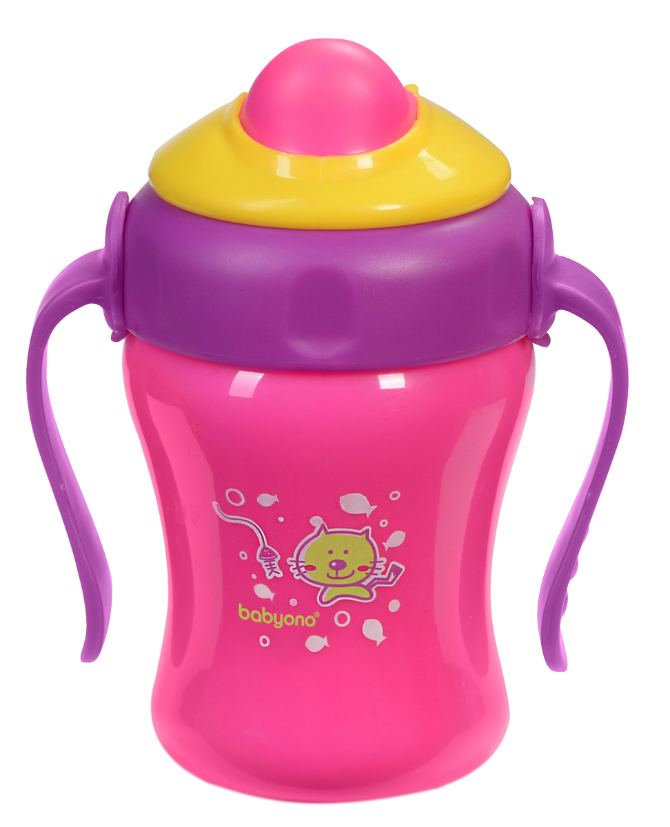 BabyOno Поильник-непроливайка с трубочкой от 8 месяцев цвет фуксия фиолетовый 220 мл