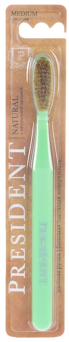 President зубная щетка Natural, с натуральной щетиной, средняя жесткость, цвет: салатовый