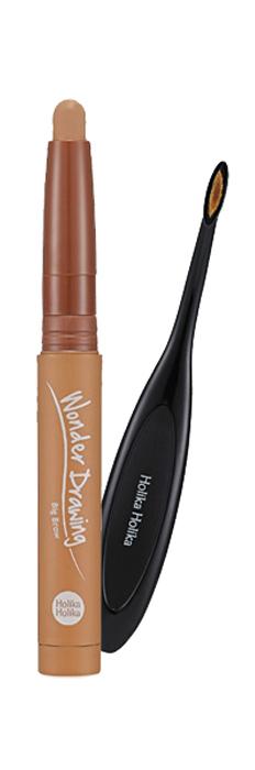 Holika Holika Большой карандаш для бровей Вандер Дроуинг, тон 01, имбирно-коричневый, 1.2 г,20015316Широкий карандаш с кистью - идеальное средство для заполнения цветом и придания густоты бровям. Больше никаких четких линий и заметного макияжа. Мягкий карандаш одним взмахом заполняет всю поверхность брови, а специальная мягкая кисть в наборе поможет тщательно растушевать цвет, придавая вашим бровям естественный вид. Средство обладает стойким цветом и мягкой текстурой, легко поддающейся растушевывания. Еще более подчеркнутый взгляд, еще более естественный образ. Масло ши и витамин Е в составе средства увлажняют и питают кожу и волосы, придавая густоту бровям.