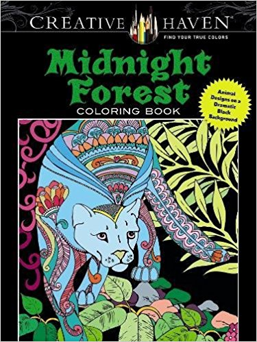 Creative Haven Midnight Forest Coloring Book a stroke of midnight