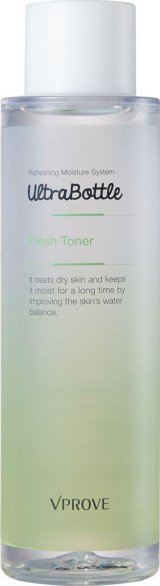 Vprove Тонер для лица Ультра Ботл Фреш, освежающий, 200 млVUFSK0001Линия для ежедневного увлажнения кожи, склонной к сухости и раздражениям, которая позволит вернуть ей гладкость и здоровый тон. Все средства содержат уникальный компонент слезный флюид - это безопасный биомиметический пептид, который помогает создать здоровую кожу, образуя плавный барьер, усиливающий поступление питательных веществ в эпидермисе, а также ее увлажняющую способность. Также все средства линии содержат био-дермоглюкан, запатентованный брендом Vprove. Он поддерживает иммунитет кожи, увлажняет ее и смягчает. А комплекс целебных трав заряжает кожу антиоксидантами, поддерживая ее молодость и упругость. Средства содержат экстракт бергамота, базилика и шалфея.Тонер обладает облегченной текстурой, моментально впитывается кожей, не оставляя ощущения липкости. Эффективно увлажняет кожу и дарит ощущение свежести.